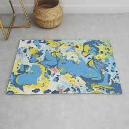 Abstract Blue & Yellow Paint Rug