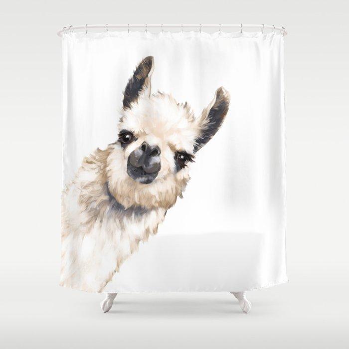 Sneaky Llama White Shower Curtain