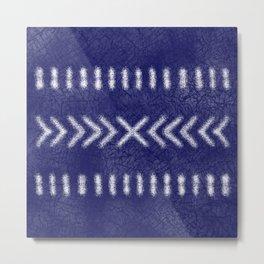 Minimalist Tribal Pattern on Navy Blue Metal Print