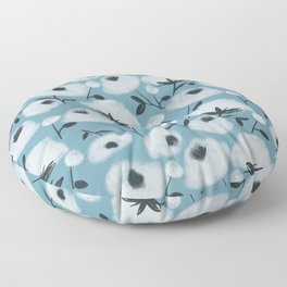 Cotton Flowers on Blue Pattern Floor Pillow