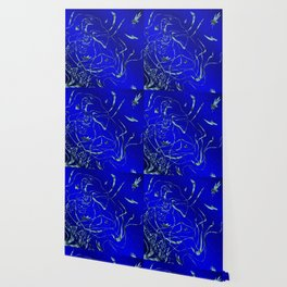 blue festive shiny metal pattern with small butterflies, Asian flowers and drops of water Wallpaper