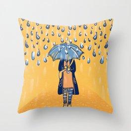 Rainy day girl Throw Pillow