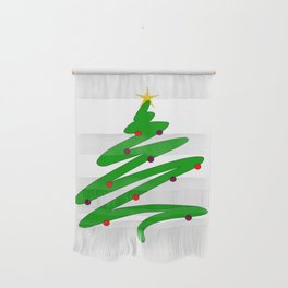 Minimalist Green Christmas Tree Doodle with Ornaments and Star Wall Hanging