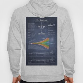 Concorde Supersonic Airliner Blueprint (dark blue) Hoody