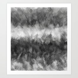 Gray White Feather Brush Abstract Art Print
