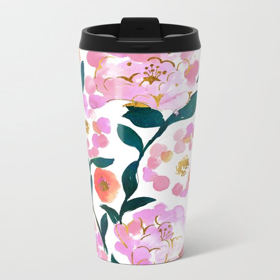 Pretty Pink Flora Metal Travel Mug