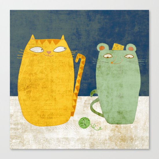 Cat-mouse friendship Canvas Print