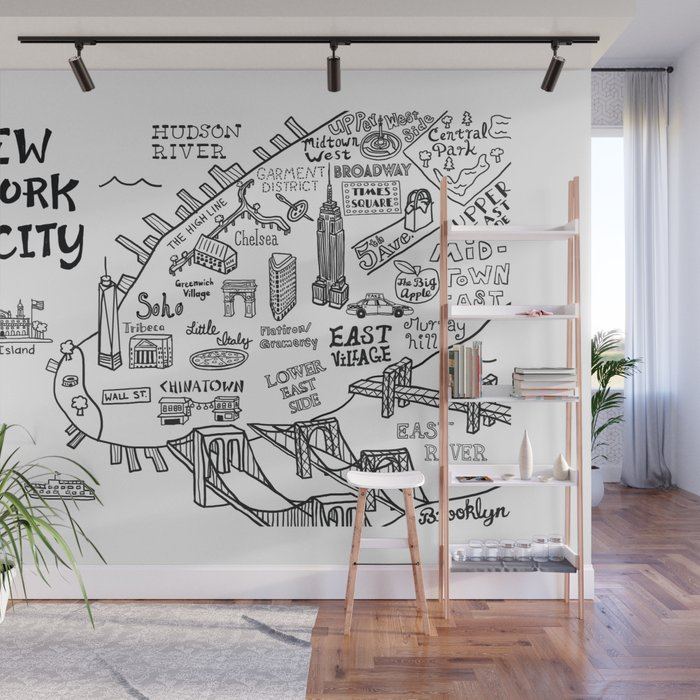New York City Map Wall Mural by clairelordon Map Mural Wall on map mural room, pirate map mural, map wallpaper, map wall house, nashville mural, map wall art, map wall decal, map wall lighting, antique map mural, us patriotic mural, historic victorian wallpaper mural, map home decor, map wall stencil, map facebook covers, new york skyline wallpaper mural, noah's ark mural, create a mural, old mural, map wall mirror, map wall graphics,