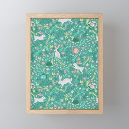 Spring Pattern of Bunnies with Turtles Framed Mini Art Print