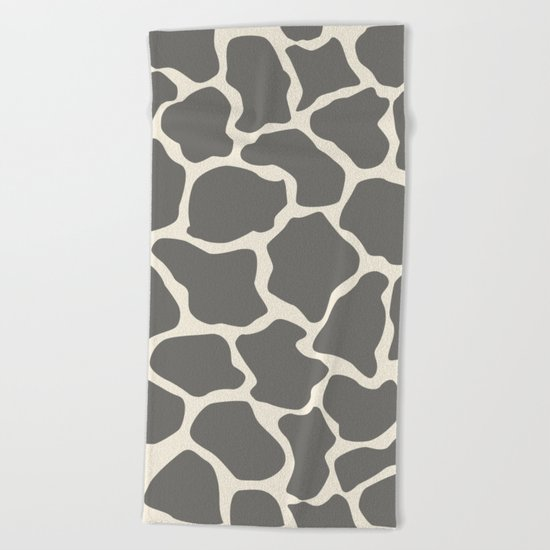 Safari Giraffe Print - Grey & Beige Beach Towel