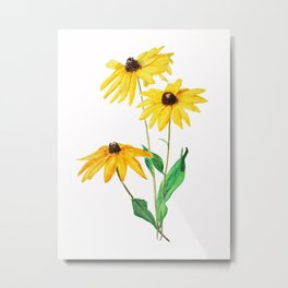 yellow sun choke flower Metal Print