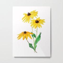 yellow sun choke flower Metal Print