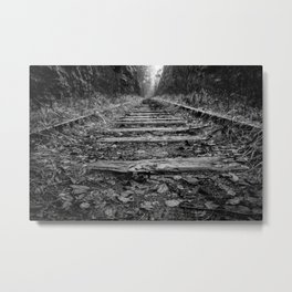 On the Rails - Abandoned Railroad Tracks in Forest black and white photograph / black and white art photography Metal Print