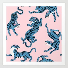 Pastel Pink & Blue Tiger Pattern Art Print