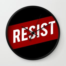 RESIST red white bold anti Trump Wall Clock