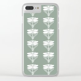 Pewter Arts and Crafts Dragonflies Clear iPhone Case