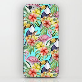 Tropical birds and flowers iPhone Skin