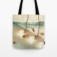 andreas preis Tote Bags featuring ideas and goldfish by Vin Zzep
