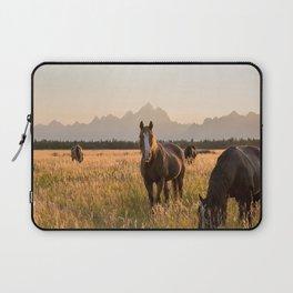 Horses Grazing Below the Tetons Laptop Sleeve