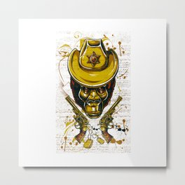 Monkey Cowboy Skull with Twin Guns Metal Print