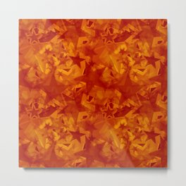 Calm intersecting red stars on an orange background. Metal Print