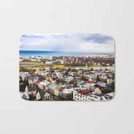 Aerial View of Rainbow Roof Houses and Apartments in Reykjavik, Iceland Bath Mat