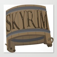 skyrim Canvas Prints featuring SKYRIM: BUCKET by MDRMDRMDR