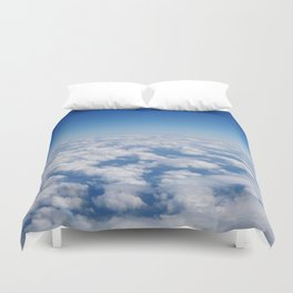 Blue Sky White Clouds Color Photography Duvet Cover