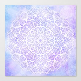 White Mandala on Pastel Blue and Purple Textured Background Canvas Print
