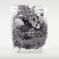Land of the Sleeping Giant (ink drawing) Shower Curtain