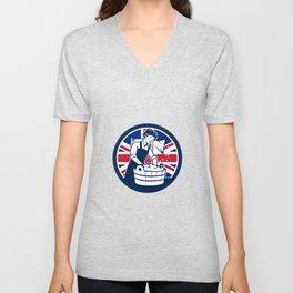 British Laundry Union Jack Flag Icon Unisex V-Neck