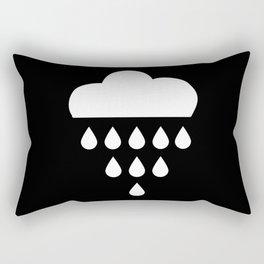 clound with rain drops. black white Rectangular Pillow