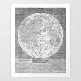 Vintage Map of The Moon (1645) Art Print