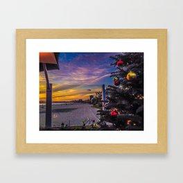 Belmont Shores Christmas Sunset Framed Art Print
