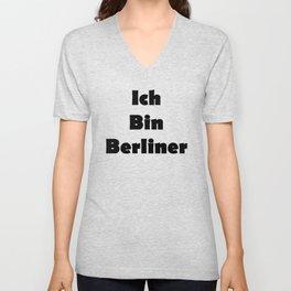 Ich Bin Berliner I am Berlin - Solid Black Text Unisex V-Neck