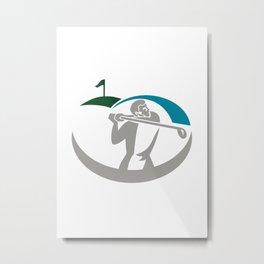 Golfer Tee Off Golf Retro Metal Print