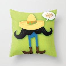 Mexstache Throw Pillow
