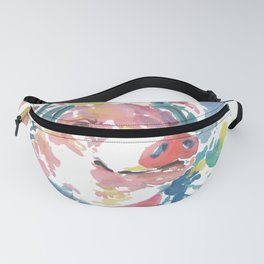 Watercolor Pig with Headphones Animal Fanny Pack