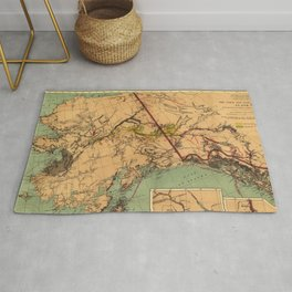 Vintage Map of Gold and Coal in Alaska (1898) Rug