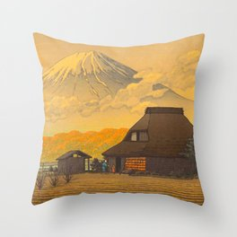 Vintage Japanese Woodblock Print Sepia Japanese Farm Mount Fuji Farmer Throw Pillow