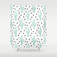 coachella Shower Curtains featuring Cactus - modern minimal pattern print triangles geometric trendy hipster coachella festival  by CharlotteWinter