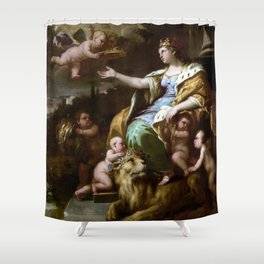 Luca Giordano Allegory of Magnanimity Shower Curtain