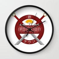 studio ghibli Wall Clocks featuring IRONTOWN - Studio Ghibli by Aonair Designs