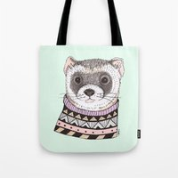 ferret Tote Bags featuring Hipster Ferret by Indi Maverick