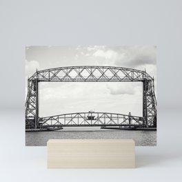 Aerial Lift Bridge-black and white Mini Art Print