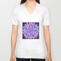 chakra V-neck T-shirts featuring Crown Chakra by CalaNooka
