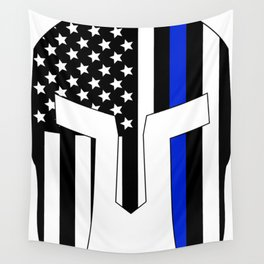 Spartan Helmet USA Flag Thin Blue Line Wall Tapestry