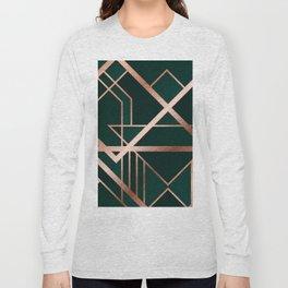 Green Art Deco Long Sleeve T-shirt