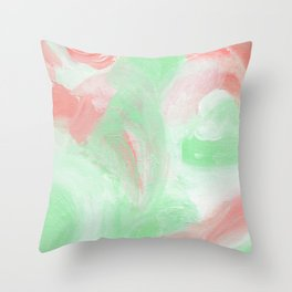 Coral Mint Abstract Throw Pillow