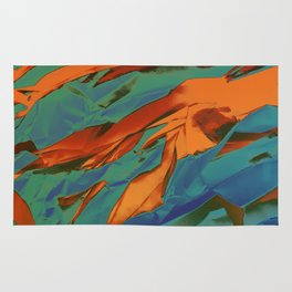 Green, Orange and Blue Abstract Rug